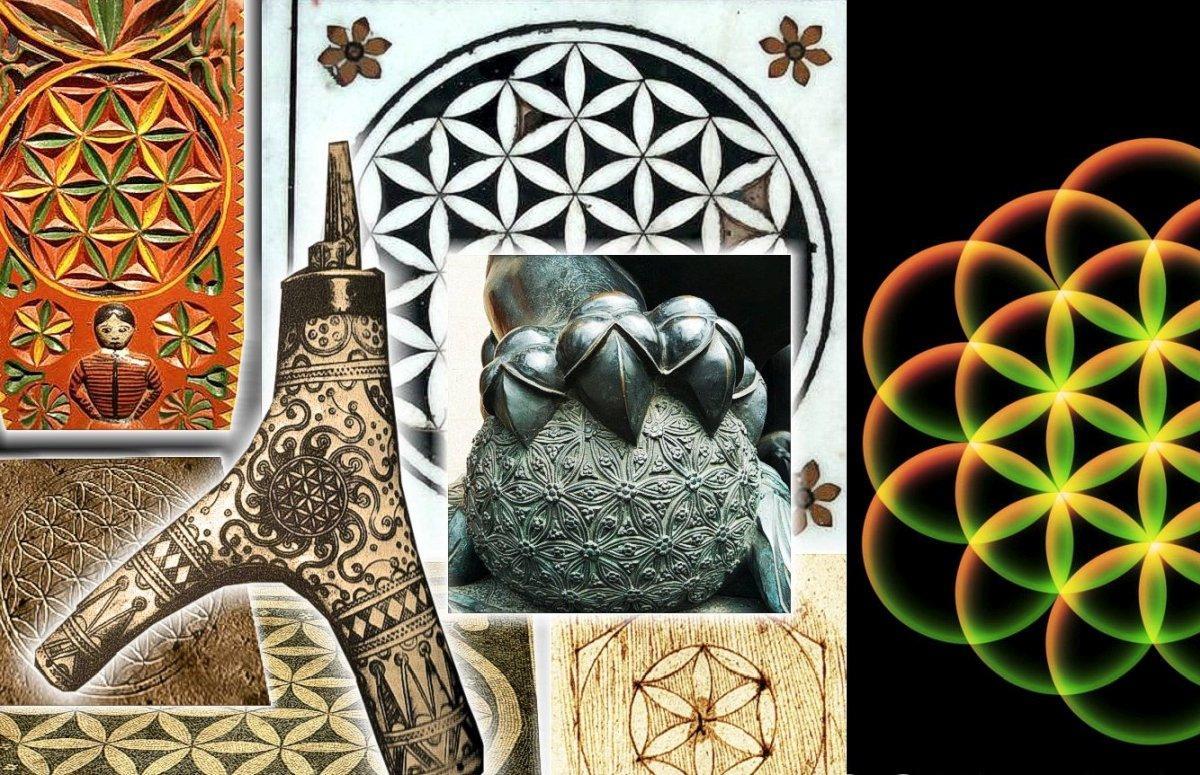 Élet virága a kínai Tiltott város bejáratánál, Eyiptomban Ozirisz templomában és a magyar hagyományban